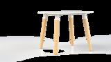 Corner tafel vierkant met beuken onderstel