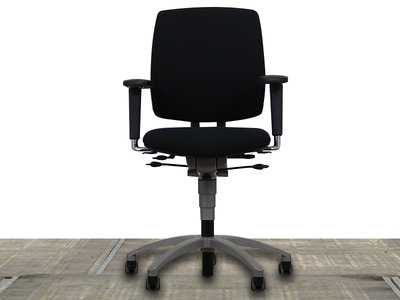 Drabert Entrada Bureaustoel nieuwe zwarte stoffering en aluminium voetkruis
